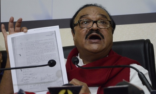 Chhagan Bhujbal`s press conference in Mumbai