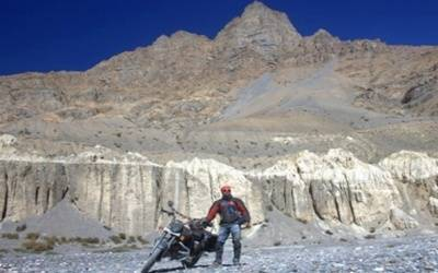 Motorcyclist on a multi-nation anti-plastic mission