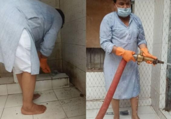 MP Minister takes matters in own hands, cleans women's toilet