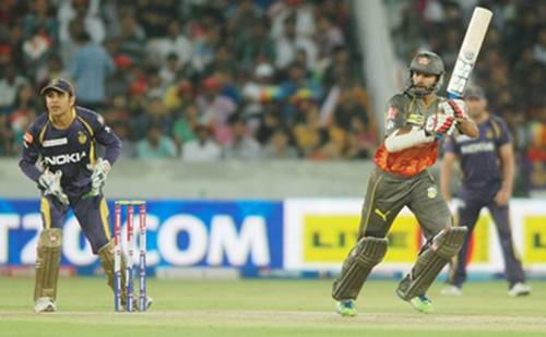 SRH batsman Sikhar Dhawan in action against KKR at in Hyderabad. ((Photo: IANS)
